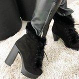 Ботиночки на устойчивом каблуке. Натуральная замша