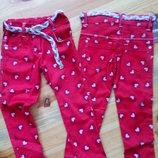 3-7 років Котонові штани для дівчинки Сердечка
