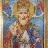 Картина бисером св. Николай , ручная работа