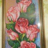 Картина бисером Розы , ручная работа