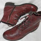 Ботинки черевики шкіра зима tamaris розмір 41 42 43, ботинки кожа цвет марсала