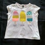 Легкая летняя футболка с пинтом мороженки.Фирма M&S