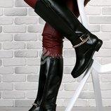 Сапоги женские резиновые высокие черные на молнии Beauty Girls с цепью