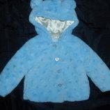 Красивая шубка на малышку 2-3 года,92-98 см,пастельный голубой цвет,сток