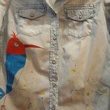 Джинсовая рубашка р.XS ручная роспись птички