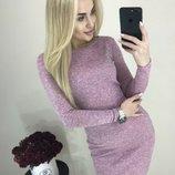 Классическое тёплое платье с Ангоры 13 цветов от р40 по р46 с круглым вырезом горловины повседневное