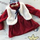 Теплое платье на плюше р. 104-110 синее, горчица и красное