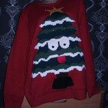 новогодний 3 Д свитер ёлка с языком