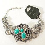 Очень красивый браслет с натуральными камнями и стразами-тибетское серебро под черненное