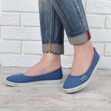 Кеды слипоны Lacoste женские текстильные голубые с красным 36 и 38 размеры