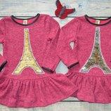 Платье тёплое с длинным рукавом, ангоровый трикотаж, Париж, р. 92-98-104-110-116-122