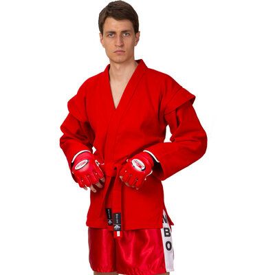 Кимоно для самбо красное 3209 140-190см, плотность 500