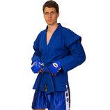 Кимоно для самбо синее 3210 140-190см, плотность 500