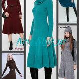 Платье клеш вязаное 44-46. воротник хомут. теплое платье вязаное. жіноча сукня плаття