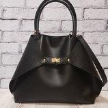Женская сумка Флай натуральная кожа,черная с плетенкой