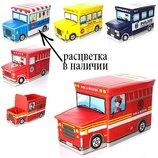 Пуф Короб складной, ящик для игрушек С Капотом Автобус с Мороженым