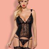 Charmea corset Черный набор эротического белья корсет с трусиками
