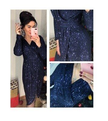 Роскошное платье пайетка Синее-- Осталось одно по супер цене