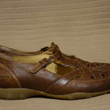 Комфортные фирменные кожаные туфли мраморно коричневого цвета Durea 38