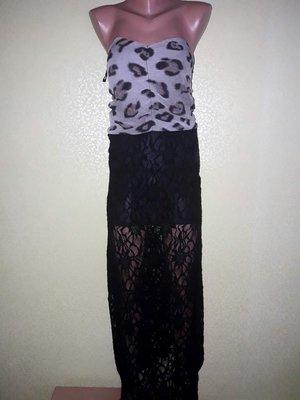 186b16e673c4710 Безумно-Красивое комбинированное вечернее платье-бандо бюстье в пол с  шифона и кружева от