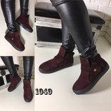 Стильные хайтопы ботинки зима замша итальянская бордо