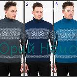 Вязаный теплый свитер с узором снежинки мужской скандинавский орнамент, Украинский производитель