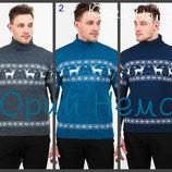 Вязаный теплый свитер с узором олени мужской орнамент