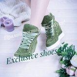 р.36-40 сникерсы ботинки деми демисезонные весна обувь натуральная итальянская замша / кожа