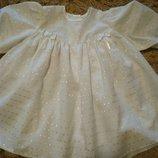 новое белое платье 1- 2 года хлопок