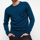 мужской свитер синий De Facto с круглой горловиной в мелкую вязку