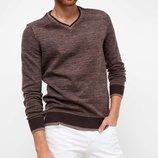 мужской свитер коричневый De Facto с V-образной горловиной и темной окантовкой