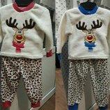 Пижама махровая теплая Олень, Пижамка, махра двусторонняя 86-92-98-104-110-116-122-128-134-140-146