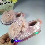 Кроссовки для девочки пушистые с ушками с мигающей подошвой р-р 25-30 розовые