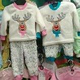Пижама махровая теплая детская, Пижамка Олень, махра двусторон р.80-86-92-98-104-110-116-122-128-124