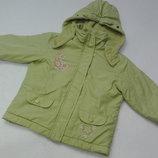 Papagino. Нежнейшая салатовая куртка на флисе весенняя. 80 размер.