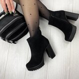 Женские ботинки натуральный замш демисезонные