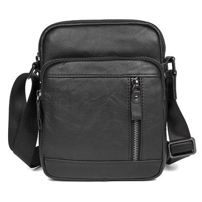 Черная мужская кожаная сумка на плечо