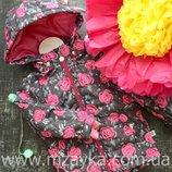 Куртка модная демисезонная для девочки, в цветочки р86-104