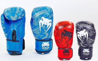 Перчатки боксерские на липучке Venum 5430 10-12 унций, кожа