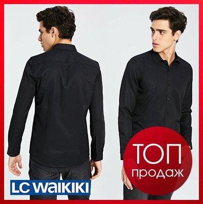 черная мужская рубашка LC Waikiki / Лс Вайкики с черными пуговицами