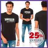 Черная мужская футболка LC Waikiki / Лс Вайкики с надписью BROOKLYN