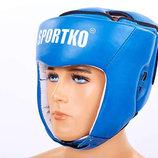 Шлем боксерский открытый кожаный Sportko 4706 шлем для бокса размер M