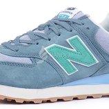 Кроссовки женские замшевые New Balance 574 Blue Gray Mint Индонезия