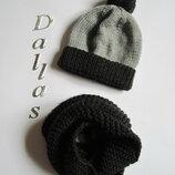 Комплект шапка, хомут Стильный серый