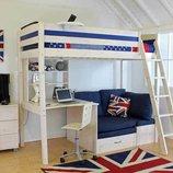 Кровать-Чердак Тинейджер с рабочей зоной и диванчиком