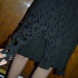 S-M юбка вязаная, демисезонная юбка, чёрная юбка, юбка трапеция, трикотажная юбка, юбка