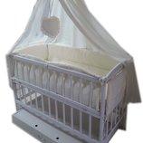 Акция Комплект кроватка маятник, матрас кокос, постельное с защитой