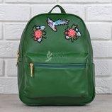Рюкзак женский зеленый с вышивкой цветы и птица Flowers and birds