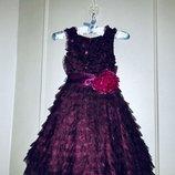 Шикарное, ооочень пышное нарядное платье Next. 6-7 лет. Красивое, праздничное платье, болеро, туфель