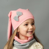 Комплект шапка и хомут весна для девочки с ушками Зайка
